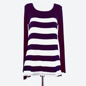 Anthropologie Bordeaux Navy Striped High-Low Top